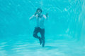 Young Man Swimming Underwater Royalty Free Stock Photo - 45092095