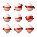 Set Of Vector Eggs With Red Ribbons. Stock Photography - 45100282