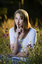 Woman Showing Quiet Sign Stock Photo - 45106250