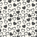 Heart Shape Vector Seamless Pattern. Black And Royalty Free Stock Images - 45108019