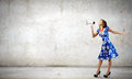Woman With Megaphone Royalty Free Stock Photo - 45115075