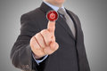 Hand Push Red Stop Button Stock Photo - 45115320