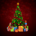 3d Christmas Tree With Colorful Ornaments And Presents Stock Images - 45118544