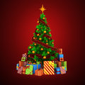 3d Christmas Tree With Colorful Ornaments And Presents Royalty Free Stock Photos - 45118698