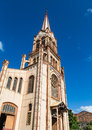 Old Brown Church And Steeple Under Blue Sky Stock Photography - 45121582