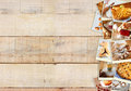 Homemade Baking Collage With Cookies, Fresh Bread, Apple Pie And Muffins Over Wooden Background. Stock Photography - 45122482