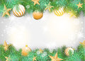Christmas Background With Yellow Ornaments And Branches Royalty Free Stock Photography - 45125887