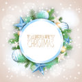 Christmas Background With Blue Ornaments And Branches Stock Photo - 45125900