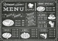Grunge Chalkboard Restaurant Menu Template Royalty Free Stock Photos - 45129098