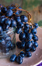 Twig Of Blue Grapes In A Glass On A Plate, Raw Food Royalty Free Stock Photos - 45139198
