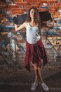 Teen Girl With Skate Boardrs, Urban Lifestyle. Royalty Free Stock Photography - 45148207