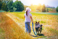 Little Girl With Dog Stock Photo - 45149640