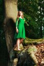 Portrait Of Romantic Woman At Fairy Forest Stock Photography - 45153442