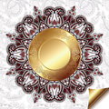 Light Floral Background With Gold Circle Pattern Stock Images - 45156054