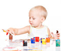 Little Baby Paint By His Hands. Stock Photos - 45169503