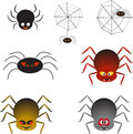Multicolor Spiders And Spider Webs, Spider Vectors Royalty Free Stock Images - 45170289