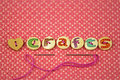 The Word Crafts Spelled In Hand Painted Letters On Buttons Stock Photos - 45193723