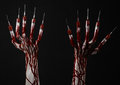 Bloody Hand With Syringe On The Fingers, Toes Syringes, Hand Syringes, Horrible Bloody Hand, Halloween Theme, Zombie Doctor, Black Royalty Free Stock Image - 45193726