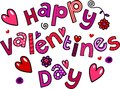 Happy Valentines Day Cartoon Doodle Text Royalty Free Stock Image - 45202066