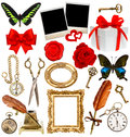Objects For Scrapbook. Clock, Key, Photo Frame, Butterfly Stock Image - 45202781