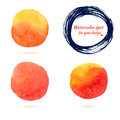 Watercolor Brush Strokes And Circle Splashes. Stock Photos - 45227593