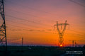 Silhouette Electricity Pylons Royalty Free Stock Photo - 45229565