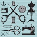 Set Of Items And Equipment To Topics Tailor, Clothing, Repair Stock Photography - 45232382