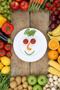 Smiling Face From Vegetables And Fruits On Plate With Tomatoes A Royalty Free Stock Images - 45240989