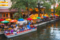 Dinner River Cruise And Dining At Night River Walk San Antonio Te Royalty Free Stock Photography - 45241077