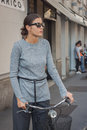 Woman Outside Trussardi Fashion Shows Building For Milan Women S Fashion Week 2014 Royalty Free Stock Images - 45270559
