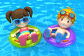 Kids Floating With Inflatable Ring Stock Photography - 45282092