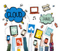 Hands Holding Digital Devices Cloud Networking Stock Photo - 45282300