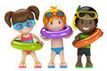 Kids With Inflatable Ring Stock Photography - 45282302