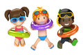 Kids With Inflatable Ring Stock Images - 45282324