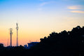 Sunset Sky With Silhouette Antenna Royalty Free Stock Image - 45286896