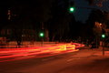 German Night City Street With Green Traffic Light Stock Images - 45293924