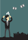 Businessman Angry At Money Flying Away Vector Illustration Stock Photography - 45295062