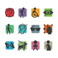 Vector Colorful Icon Set Of Access Signs For Physically Disabled People Stock Images - 45297984
