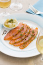 Smoked  Salmon And Ingredients In Plate On Table Stock Photo - 45311730