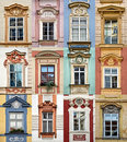 Collage Of Colorful Windows With Pediment Of Prague Royalty Free Stock Images - 45331559