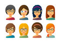 Female Avatars Wearing Glasses  With Various Hair Styles Royalty Free Stock Photos - 45334758