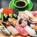 Premium Quality Sushi Rolls Served In Japanese Restaurant Royalty Free Stock Images - 45337979