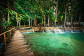 Tropical Rain Forest With Kuang Si Cascade Waterfall. Luang Prabang, Laos Stock Photo - 45338040