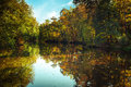 Sunny Day In Outdoor Park With Autumn Trees Reflection Royalty Free Stock Photos - 45338778