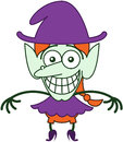 Nice Halloween Witch Grinning While Feeling Embarrassed Stock Photos - 45349403