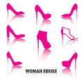 Set Of Pink Woman Shoes Silhouettes With Reflections Royalty Free Stock Photos - 45349528