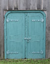 Old Wooden Double Blue Doors Stock Photography - 45354132