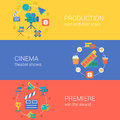 Flat Video Movie Production Cinema Design Icons Set Stock Photography - 45358282