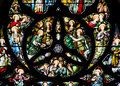 Colourful   Stained Glass Rose Window Panel In Edinburgh Stock Photos - 45368643