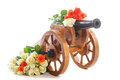 Vintage Decorative Wooden Mortar With Blooming Roses Royalty Free Stock Image - 45375436